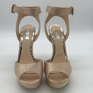 Qupid Tan Satin Peep Toe Heels Size 8.5